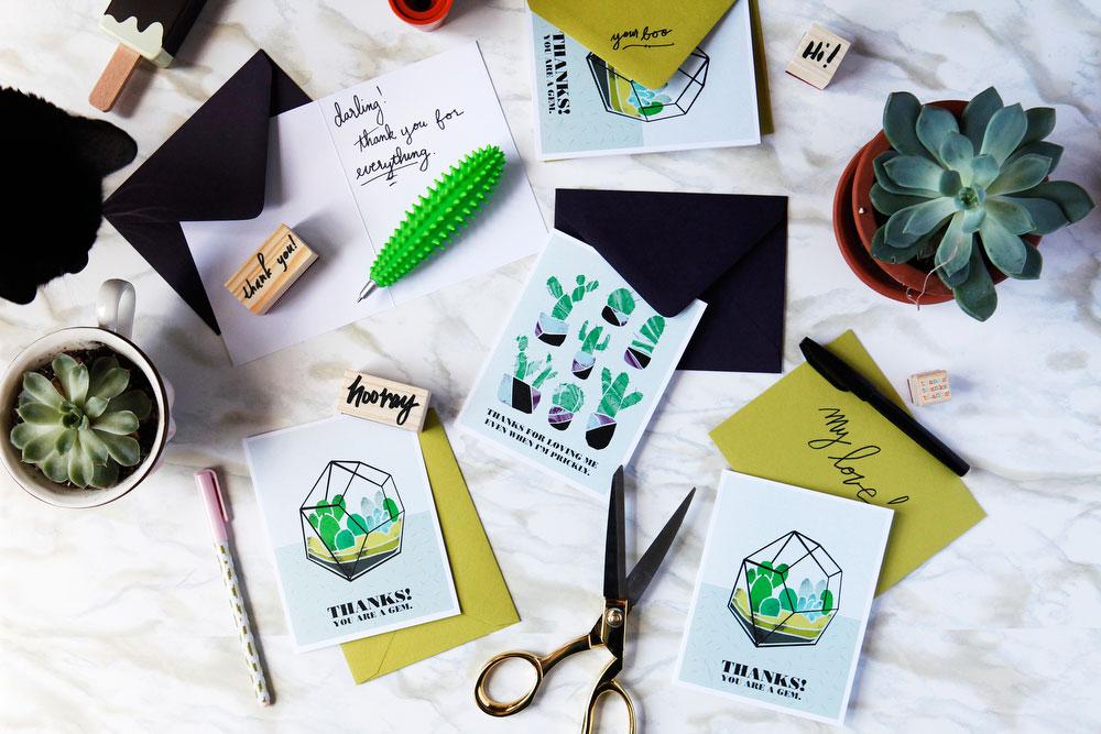 Succulent and cactus greeting cards | freckleandfair.com