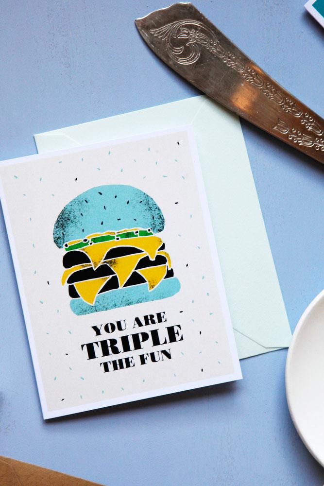 Congratulations burger greeting card | freckleandfair.com