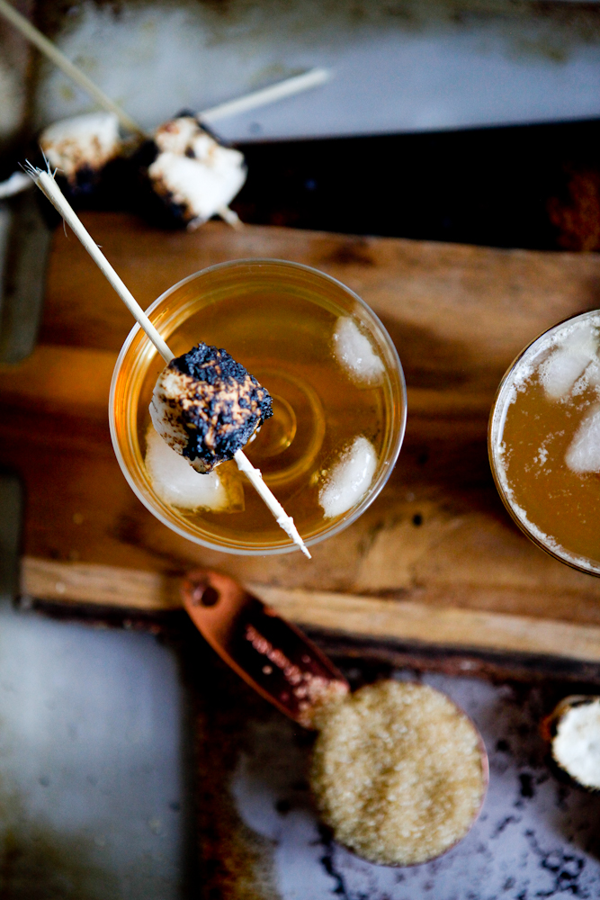 Campfire cocktail with whiskey and marshmallow syrup | freckleandfair.com