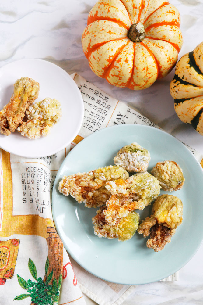Fried zucchini squash blossoms with cream cheese | freckleandfair.com