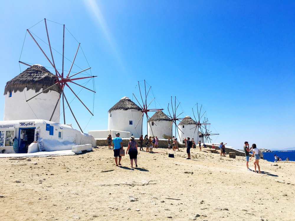 Little Venice Windmills in Mykonos, Greece | www.freckleandfair.com