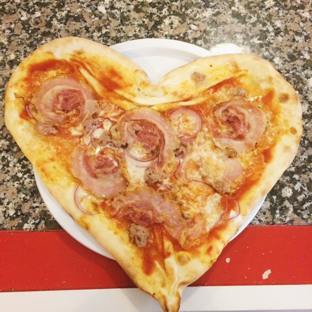 Heart-shaped pizza | freckleandfair.com