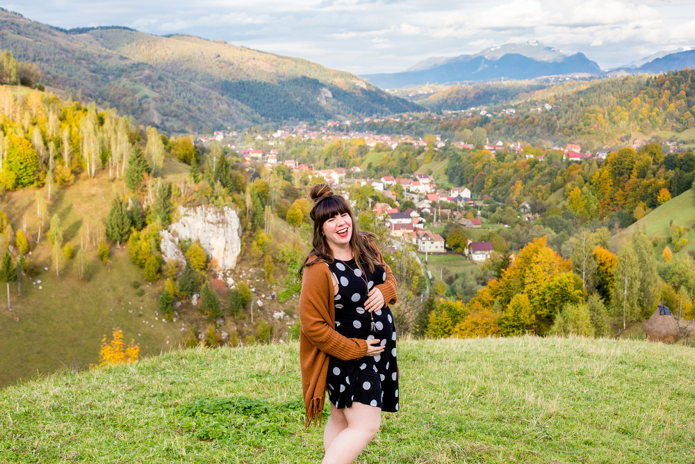 32 weeks with my favorite polka dot swing dress + cardigan