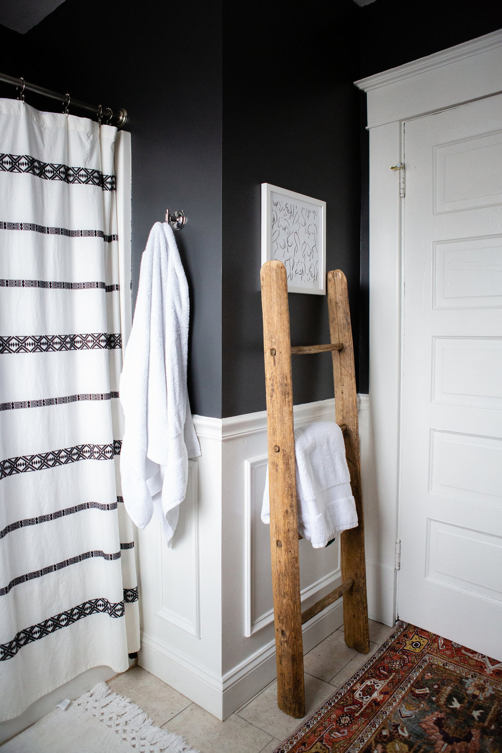 Charcoal black bathroom | Freckle & Fair