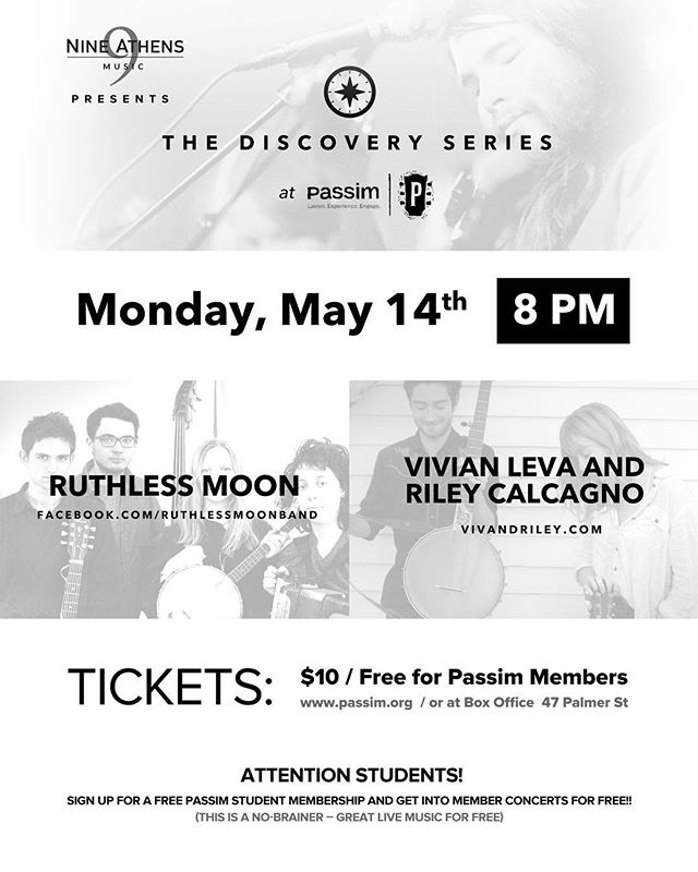 Come one come all - tomorrow's Discovery Series @clubpassim features Ruthless Moon and @vivianleva and @rileycalcagno. FREE4MEMBERS! 🕺