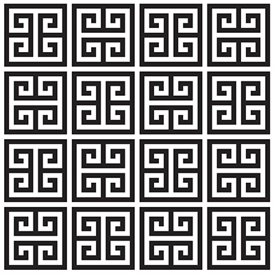 Greek Key: Geometric pattern that consists of lines that meet at right angles.