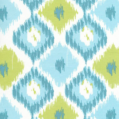 Ikat: A pattern design created by tie-dyeing threads prior to weaving the fabric.