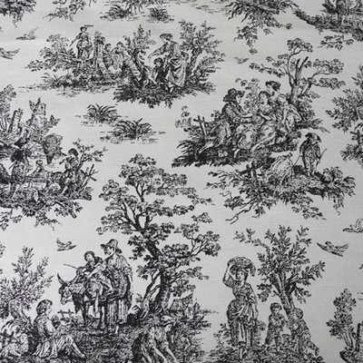 Toile De Jouy: A scenic pattern usually printed in one color on a light/white ground.