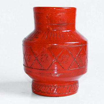 Bitossi red Italian vase from 1001vintage; $92