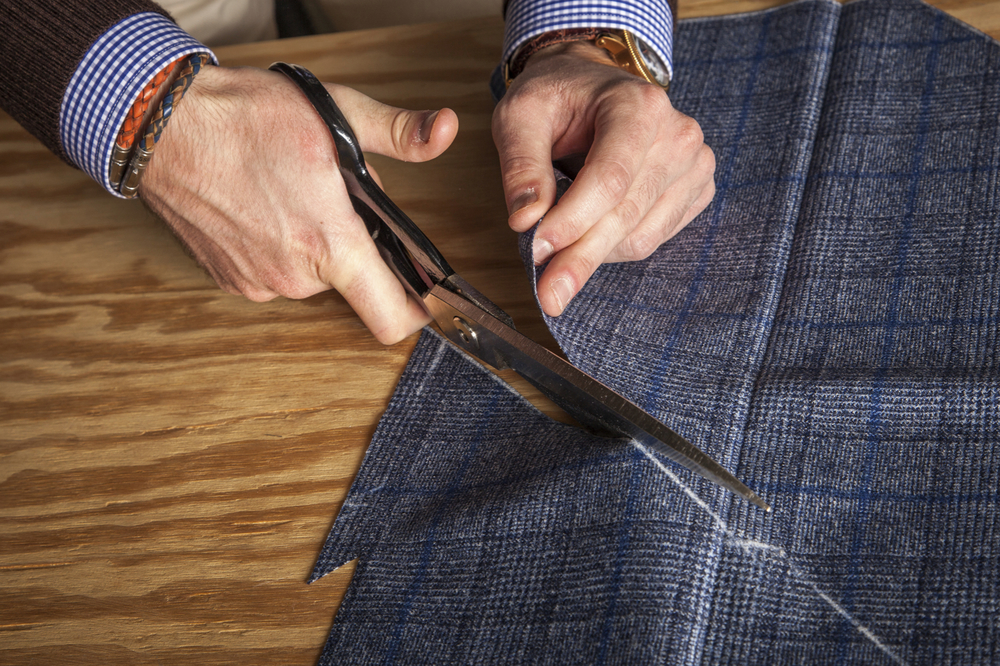 Luxurious fabrics, delicately hand cut always keeping in mind the grain of the fabric and aligning of patterns.