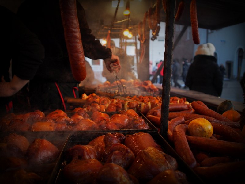 Sausage, sausage everywhere - food stand in the Christmas Market
