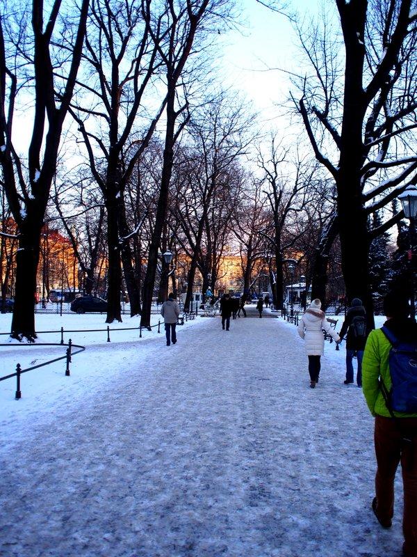 Exploring Krakow on foot - slippery