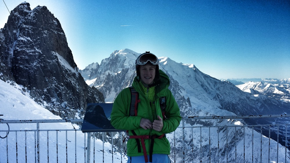 Peter at the summit with Mount Blanc over his right shoulder (left as you are looking at him).