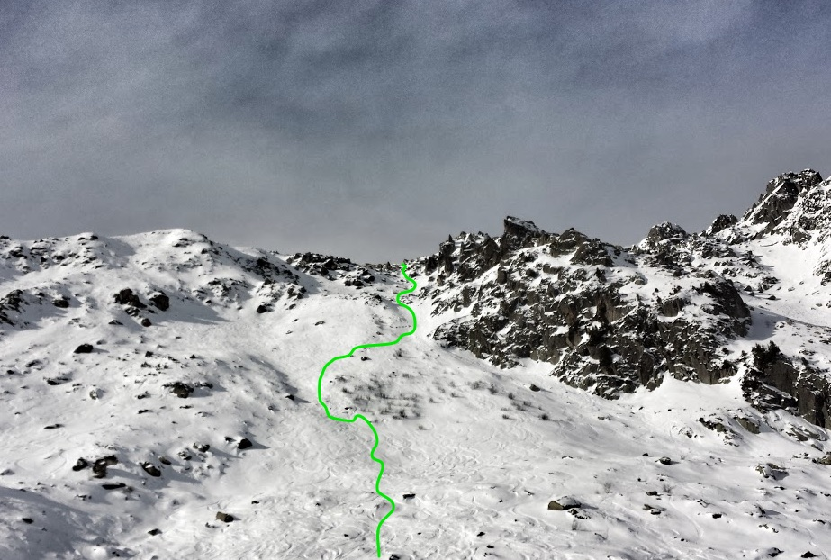 The green line represents the line we skied down this face, it does not look nearly as steep as it was
