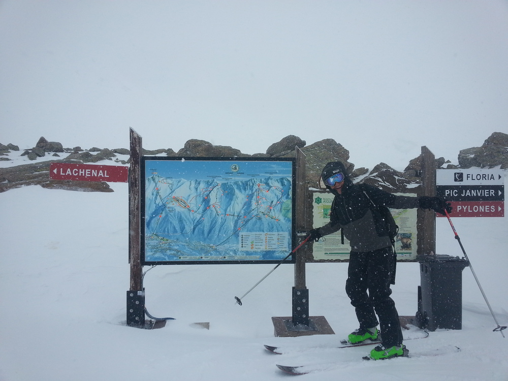 Pete standing next to the lift status sign (all the lifts are red)