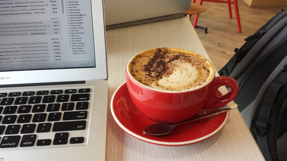 The benefit of having to go to a coffee shop for internet - a great cappicuino