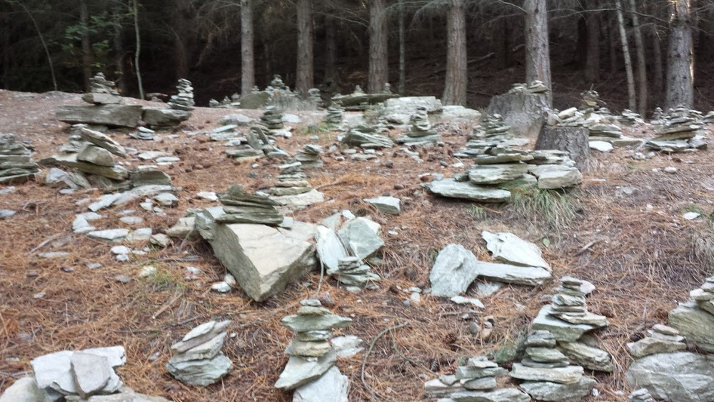 Big field of stacked rocks