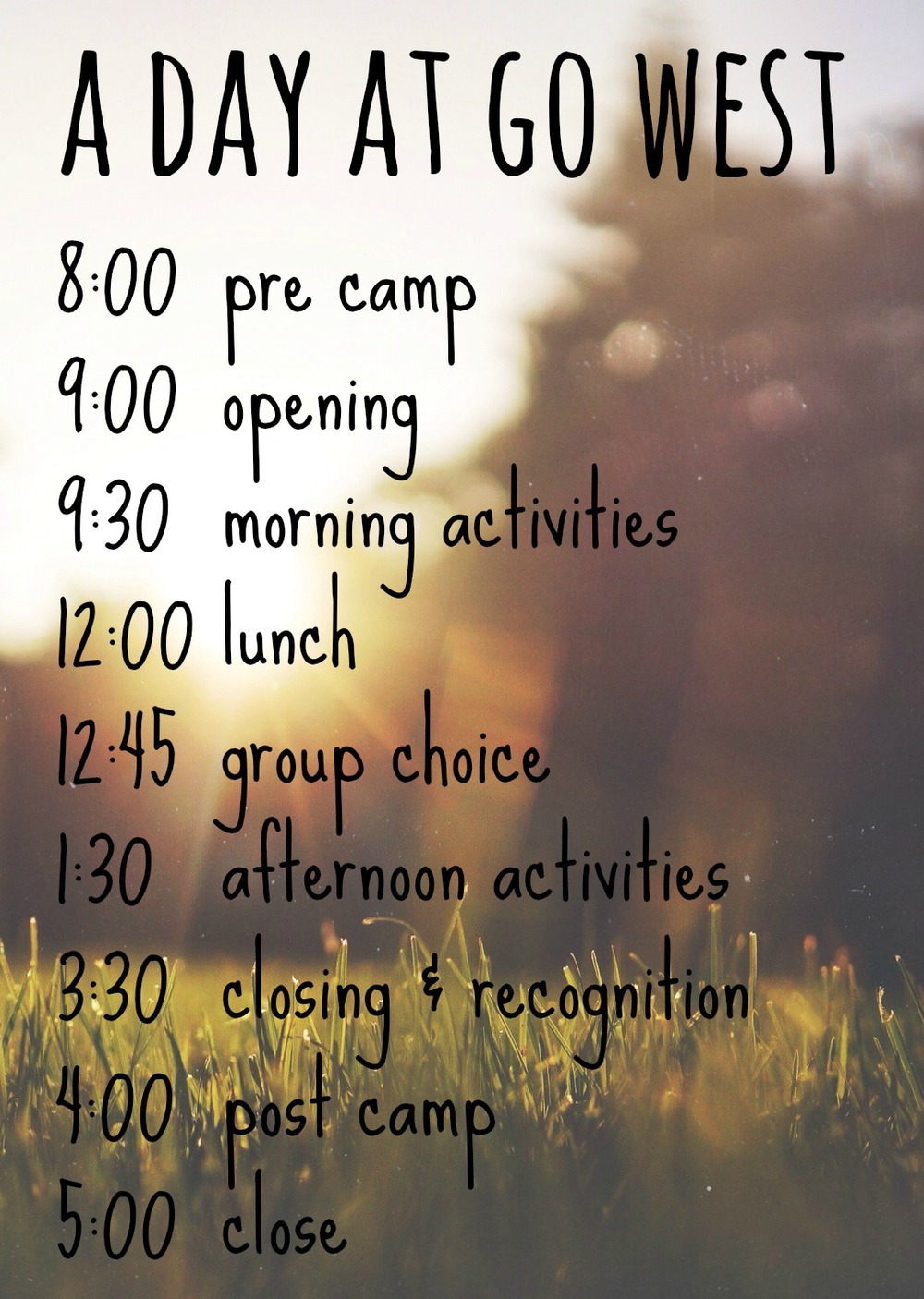 Go West Camps summer day camp schedule is designed to give kids an experience that promotes community building, skill building and fun. We spend most of the day outdoors enjoying the natural environment and recreational opportunities that Colorado Springs, Colorado has to offer.