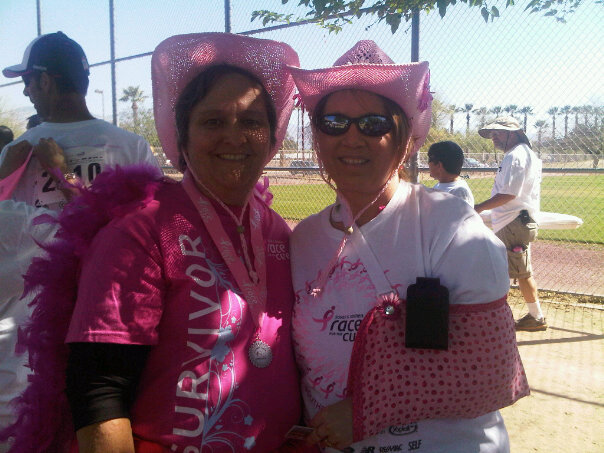 Lyn and Me at the 2010 So. AZ Race for the Cure (I even had a cute pink sling for my seriously damaged shoulder that year!).