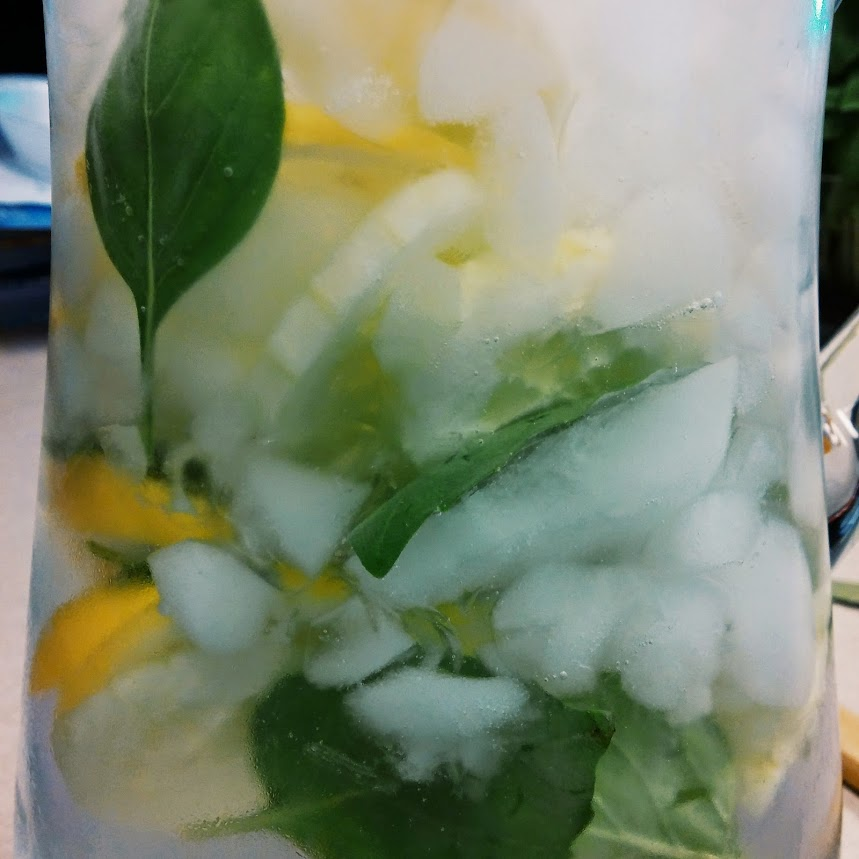 Lemon, Cucumber * Basil infused water. Yummy!