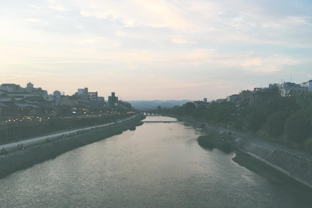 Impressionistic Peace Kamo River, Gion, Kyoto, Japan