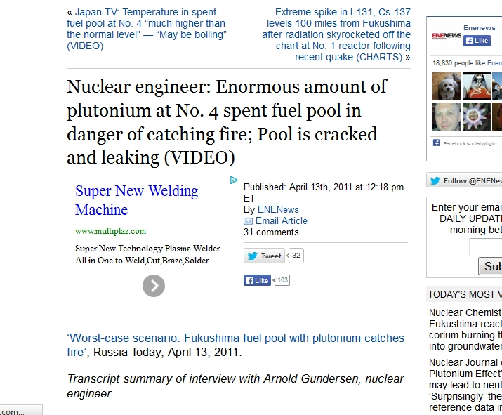 Enormous amount of plutonium at No. 4 spent fuel pool in danger of catching fire; Pool is cracked and leaking.jpg