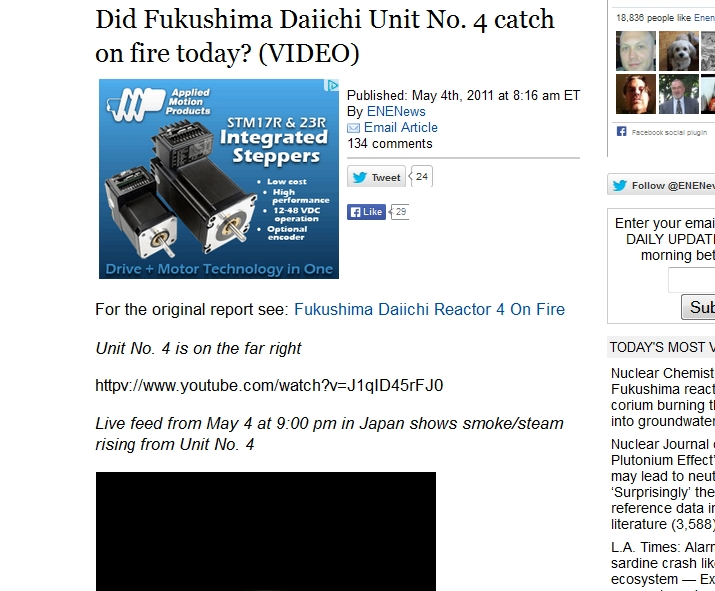 Did Fukushima Daiichi Unit No. 4 catch on fire today.jpg