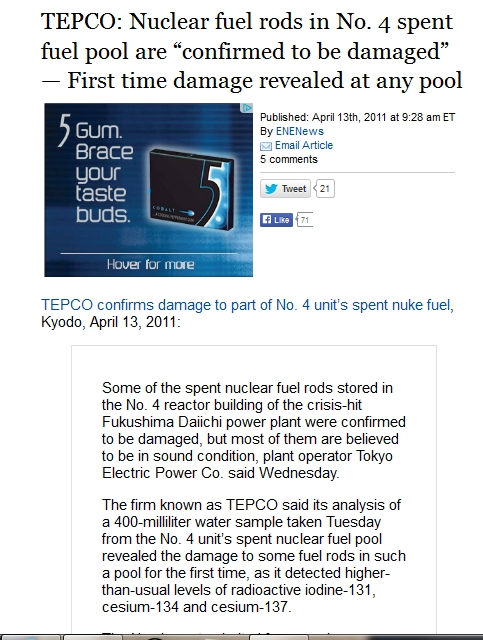"TEPCO Nuclear fuel rods in No. 4 spent fuel pool are ""confirmed to be damaged"" — First time damage revealed at any pool.jpg"