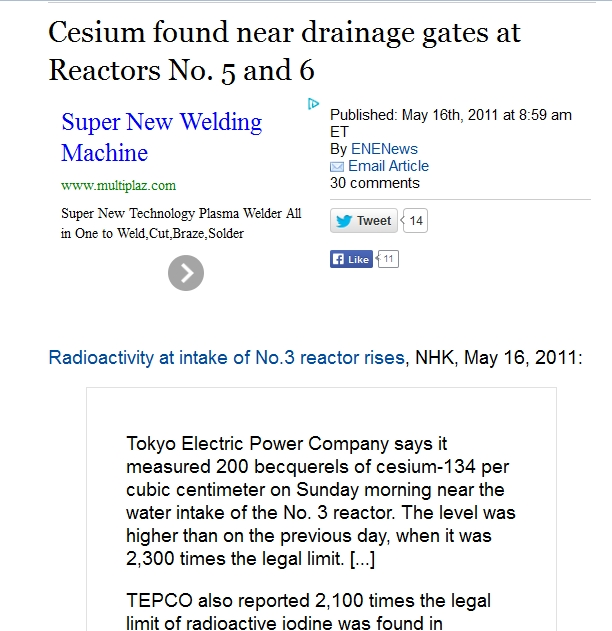 Cesium found near drainage gates at Reactors No. 5 and 6.jpg