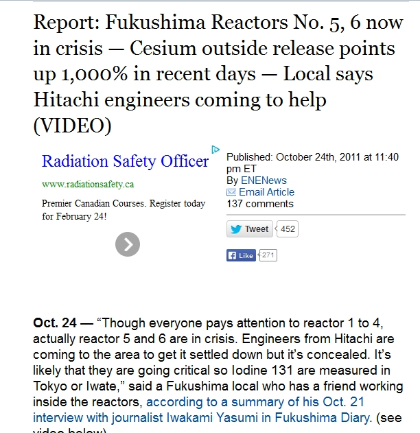 Report Fukushima Reactors No. 5, 6 now in crisis — Cesium outside release points up 1,000% in recent days.jpg