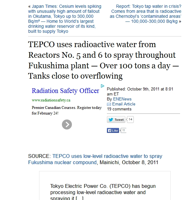 TEPCO uses radioactive water from Reactors No. 5 and 6 to spray throughout Fukushima plant — Over 100 tons a day — Tanks close to overflowing.jpg