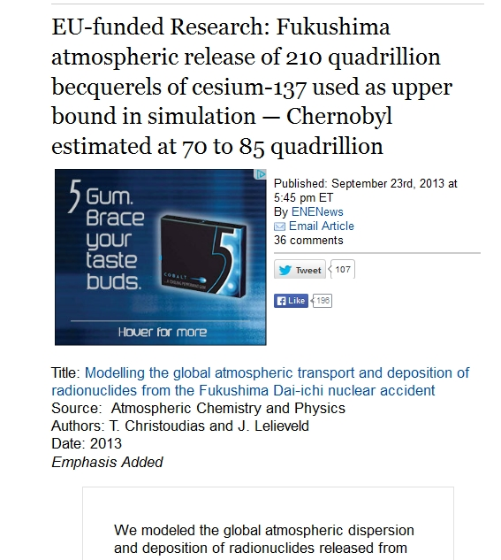 Fukushima atmospheric release of 210 quadrillion becquerels of cesium-137 used as upper bound in simulation — Chernobyl estimated at 70 to 85 quadrillion.jpg