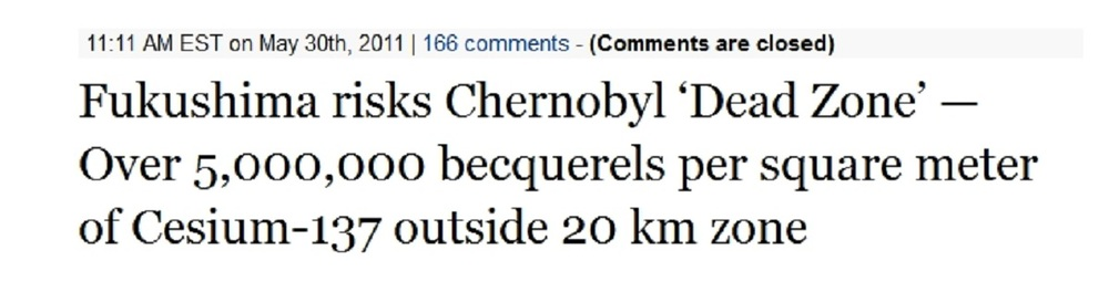 Fukushima risks Chernobyl 'Dead Zone' — Over 5,000,000 becquerels per square meter of Cesium-137 outside 20 km zone.jpg