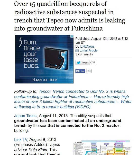 Over 15 quadrillion becquerels of radioactive substances suspected in trench that Tepco now admits is leaking into groundwater at Fukushima.jpg