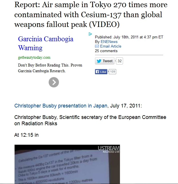 219 km  270 Report Air sample in Tokyo 270 times more contaminated with Cesium-137 than global weapons fallout peak.jpg