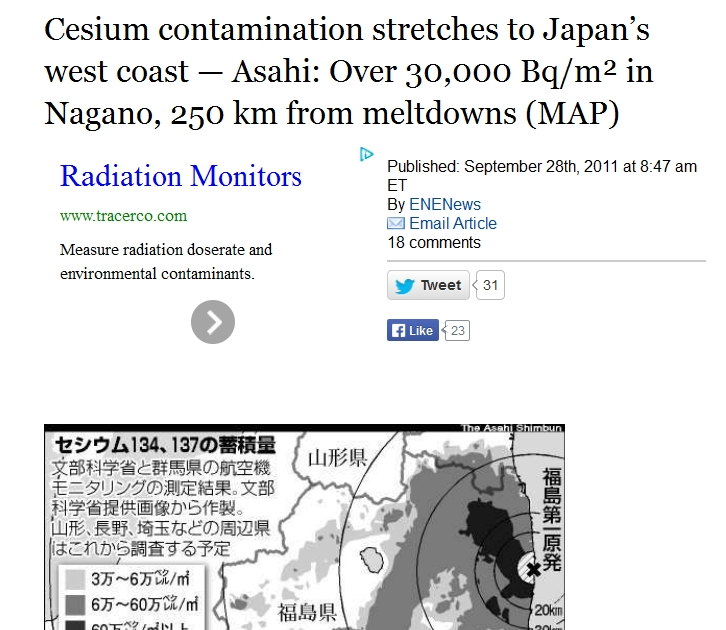 250 km Cesium contamination stretches to Japan's west coast — Asahi Over 30,000 Bqm² in Nagano, 250 km from meltdowns 2.jpg