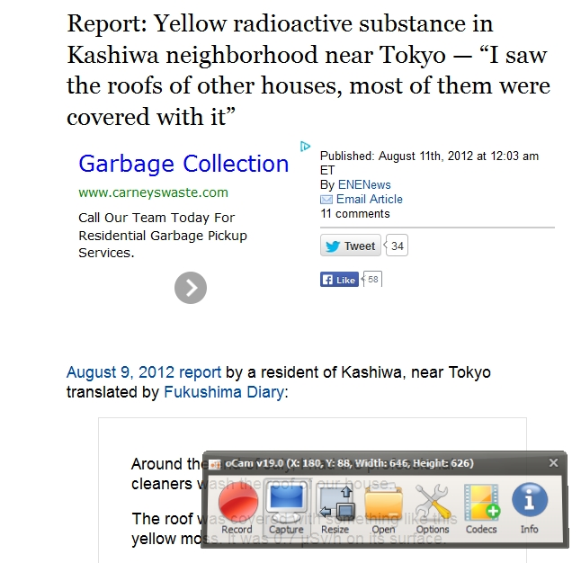 Yellow radioactive substance in Kashiwa neighborhood near Tokyo.jpg