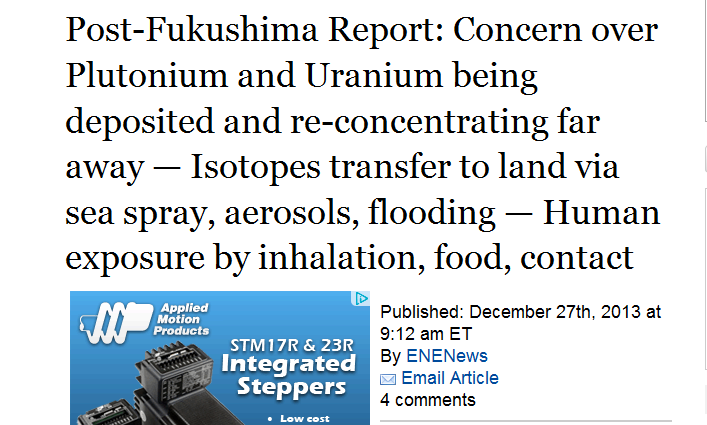 Concern over Plutonium and Uranium being deposited and re-concentrating far away — Isotopes transfer to land via sea spray, aerosols, flooding.PNG