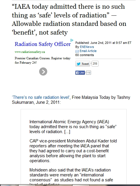 "IAEA today admitted there is no such thing as 'safe' levels of radiation"" — Allowable radiation standard based on 'benefit', not safety.jpg"