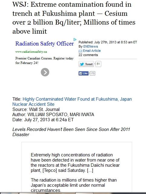 WSJ Extreme contamination found in trench at Fukushima plant — Cesium over 2 billion Bqliter; Millions of times above limit 1.jpg