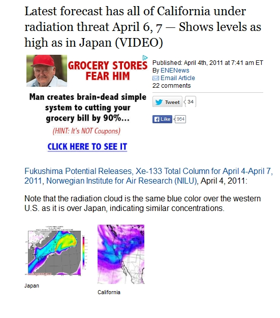 1 Latest forecast has all of California under radiation threat April 6, 7 — Shows levels as high as in Japan.jpg