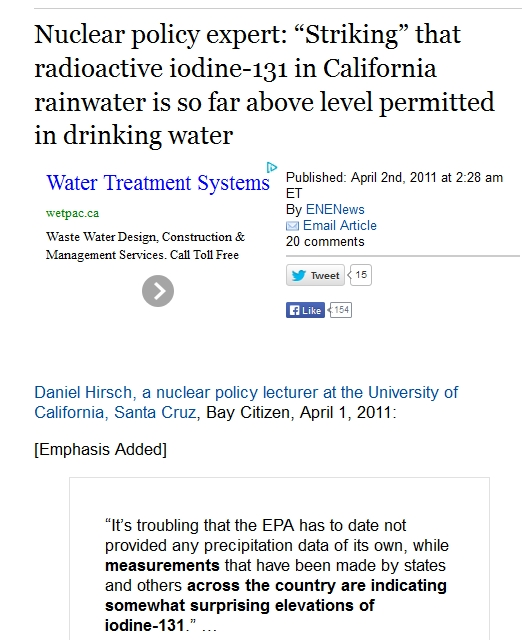 "1 Nuclear policy expert ""Striking"" that radioactive iodine-131 in California rainwater is so far above level permitted in drinking water.jpg"