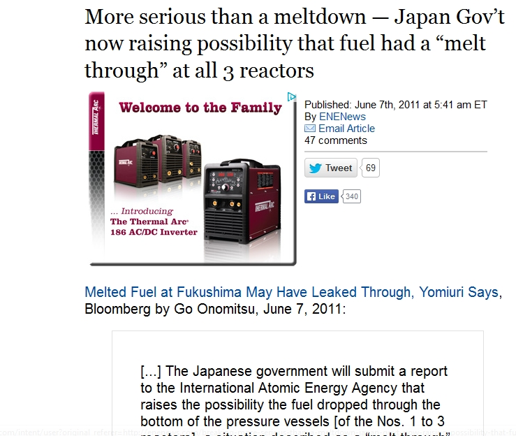 "Japan Gov't now raising possibility that fuel had a ""melt through"" at all 3 reactors.jpg"