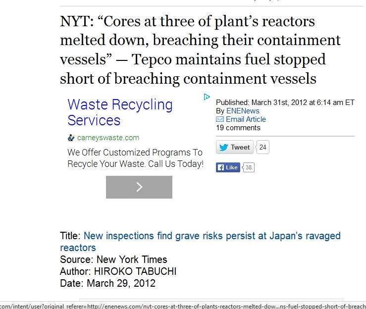 "NYT ""Cores at three of plant's reactors melted down, breaching their containment vessels.jpg"