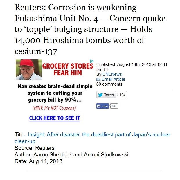 Reuters Corrosion is weakening Fukushima Unit No. 4 — Concern quake to 'topple' bulging structure — Holds 14,000 Hiroshima bombs worth of cesium-137.jpg