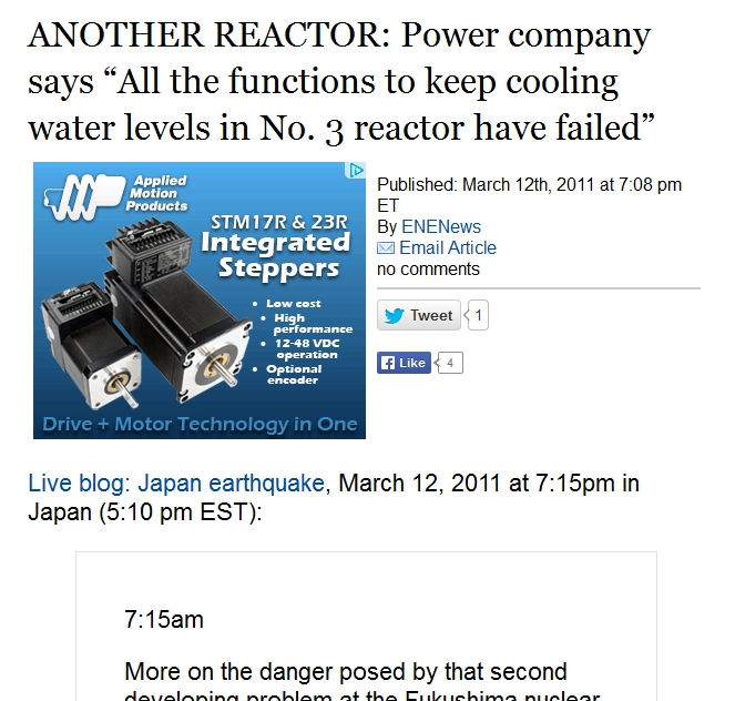 "1 ANOTHER REACTOR Power company says ""All the functions to keep cooling water levels in No. 3 reactor have failed.jpg"