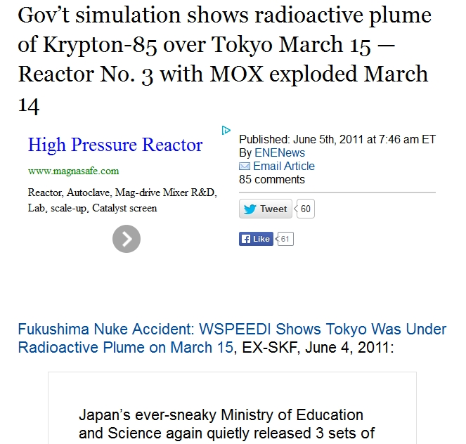 3 Gov't simulation shows radioactive plume of Krypton-85 over Tokyo March 15 — Reactor No. 3 with MOX exploded March 14.jpg
