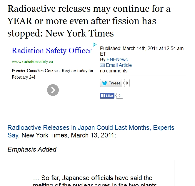 3 Radioactive releases may continue for a YEAR or more even after fission has stopped New York Times.jpg