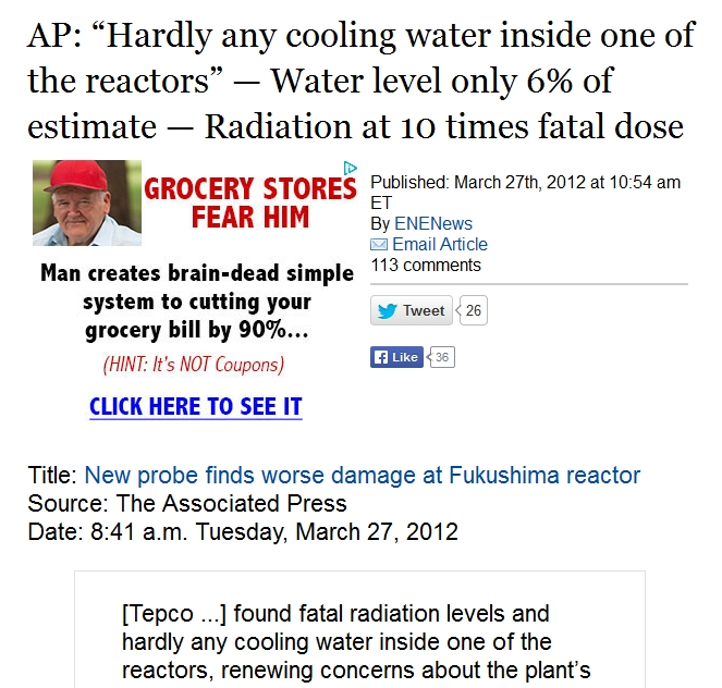 "AP ""Hardly any cooling water inside No. 2 "" — Water level only 6% of estimate — Radiation at 10 times fatal dose.jpg"