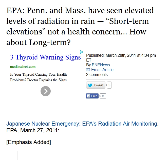 "EPA Penn. and Mass. have seen elevated levels of radiation in rain — ""Short-term elevations"" not a health concern… How about Long-term.jpg"